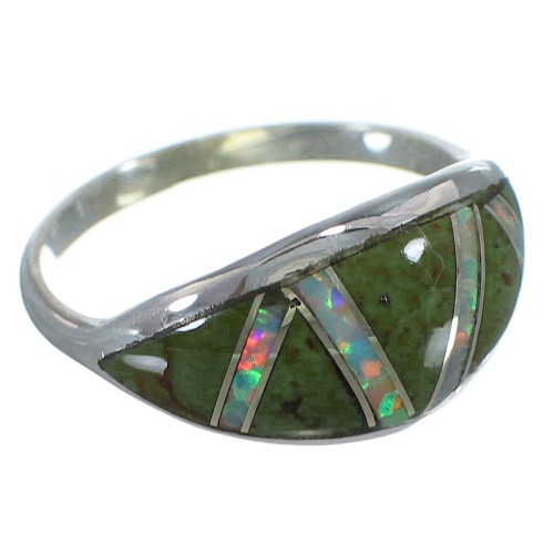 Sterling Silver Turquoise And Opal Southwestern Ring Size 6-3/4 AX52060