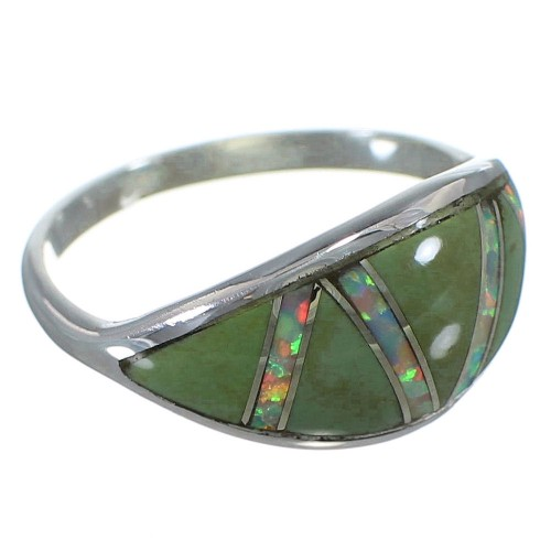 Southwest Silver Jewelry Opal And Turquoise Ring Size 7-3/4 AX52120