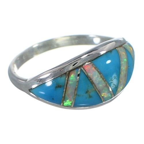 Sterling Silver Southwest Opal Turquoise Inlay Ring Size 6-1/4 AX52160