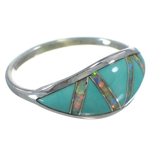 Sterling Silver Southwestern Turquoise Opal Ring Size 8-1/2 AX52234