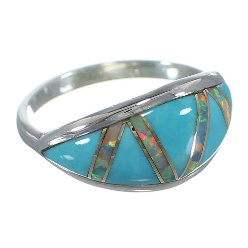 Silver Southwestern Turquoise Opal Inlay Ring Size 7-1/4 AX52239
