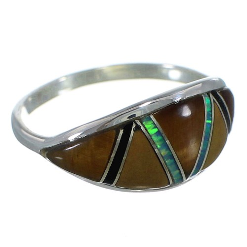 Multicolor Inlay Sterling Silver Ring Size 7-1/4 AX52271