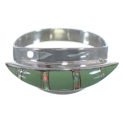 Turquoise And Opal Sterling Silver Ring Size 6-1/4 EX44550