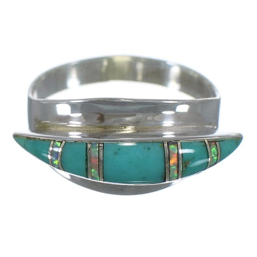Silver Southwestern Turquoise Opal Ring Size 8-3/4 QX86377