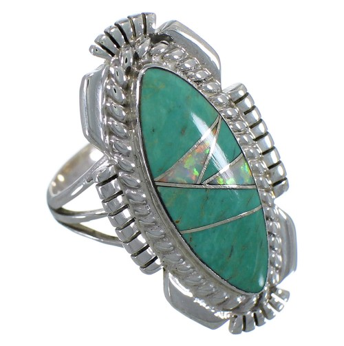 Southwest Silver Jewelry Turquoise Opal Ring Size 7-1/4 TX45587