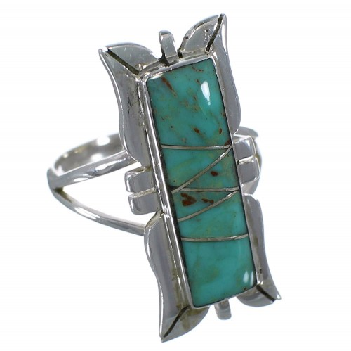 Southwest Turquoise Silver Ring Size 6-3/4 EX44225