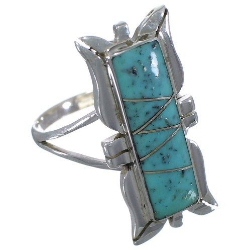 Turquoise Inlay Sterling Silver Ring Size 6-1/2 EX44239