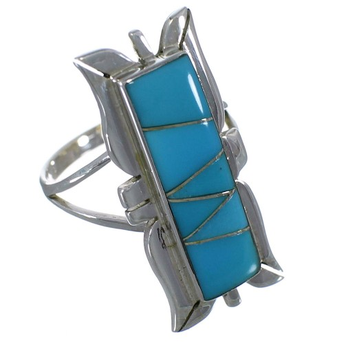 Southwest Turquoise Inlay Silver Ring Size 5-3/4 EX44241