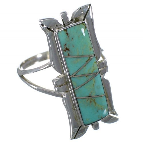 Southwest Turquoise Silver Ring Size 7-3/4 EX44245