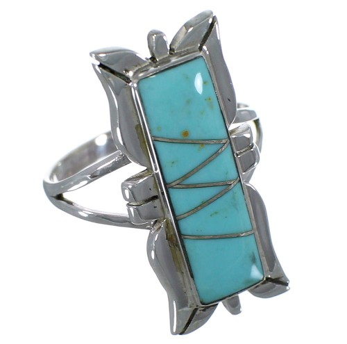 Genuine Sterling Silver Turquoise Inlay Ring Size 8 EX44251