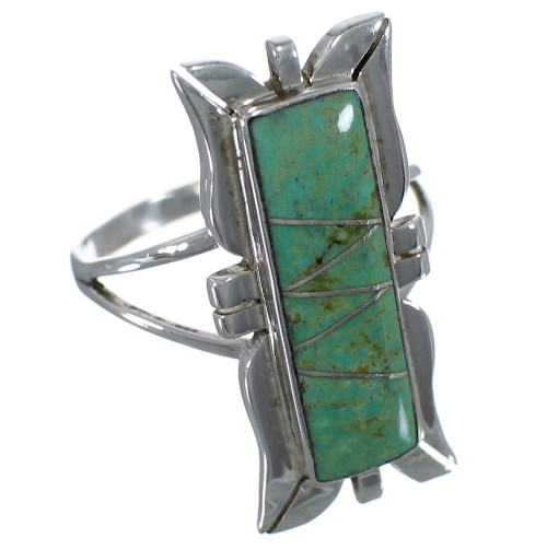 Southwestern Turquoise And Silver Ring Size 4-3/4 EX44256