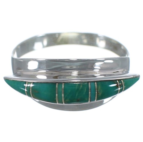 Turquoise Inlay And Silver Ring Size 5-3/4 EX44875