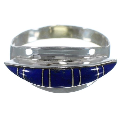 Southwest Lapis Inlay Silver Ring Size 8-1/4 EX45025
