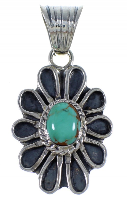 Turquoise Authentic Sterling Silver Flower Pendant PX42931