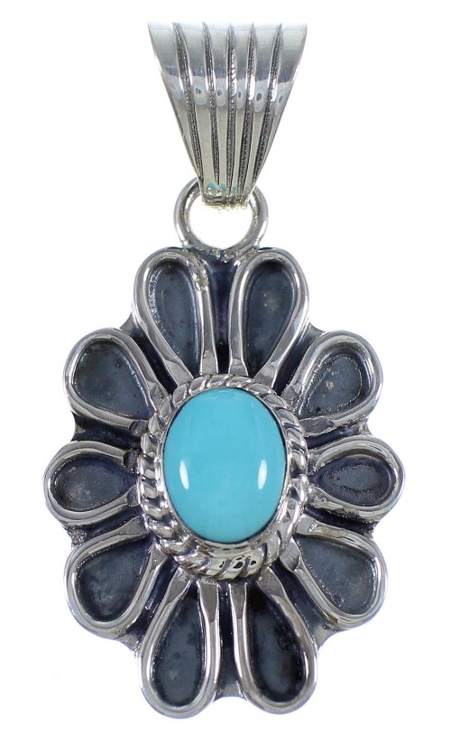 Silver Southwest Flower Turquoise Jewelry Pendant PX42932