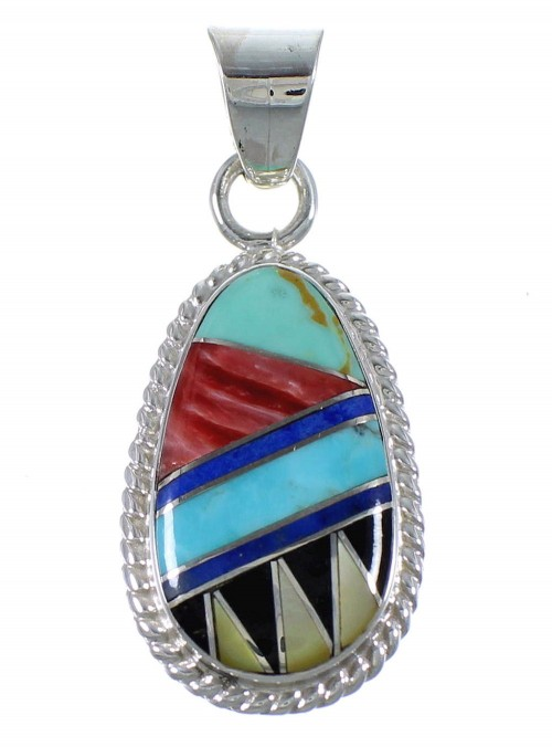 Multicolor Inlay Sterling Silver Southwest Pendant PX42969
