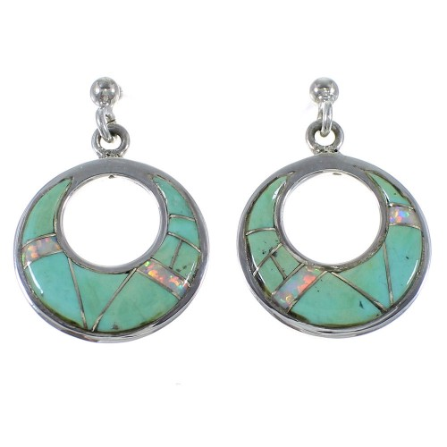 Southwest Turquoise And Opal Inlay Silver Earrings CX45703