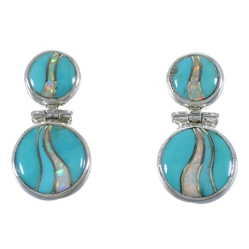 Opal Turquoise Inlay Silver Post Dangle Earrings CX45868