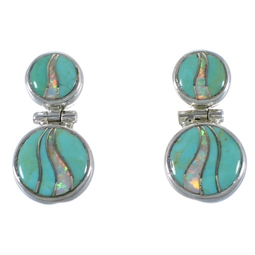 Southwest Turquoise Opal Genuine Sterling Silver Earrings CX45870