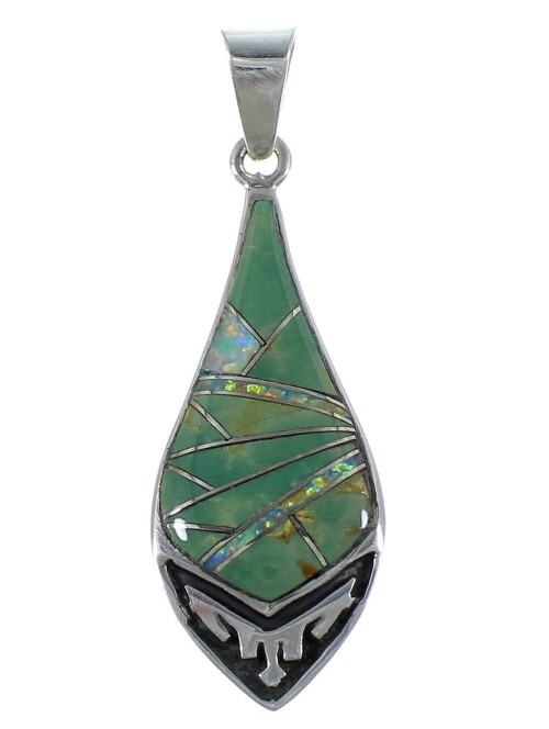 Southwestern Jewelry Silver Opal Turquoise Pendant CX46629
