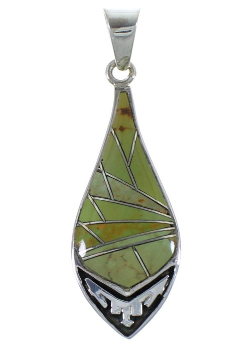 Southwest Sterling Silver Turquoise Inlay Pendant Jewelry CX46666