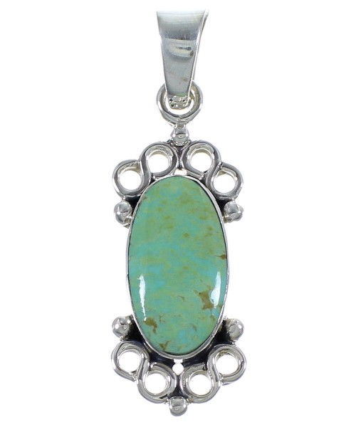 Turquoise Genuine Sterling Silver Southwestern Pendant CX46757