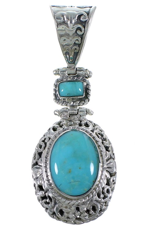 Southwestern Sterling Silver Turquoise Pendant CX46788