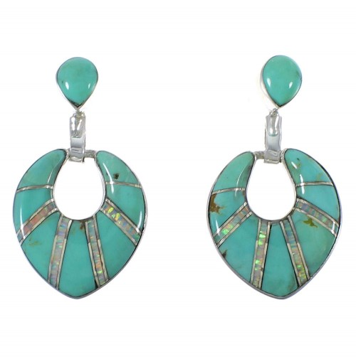 Southwestern Turquoise And Opal Inlay Earrings CX45055
