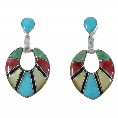 Multicolor Inlay Jewelry Sterling Silver Post Dangle Earrings CX45089