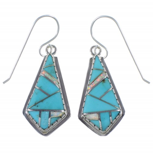Southwest Silver Turquoise Opal Inlay Earrings CX45342