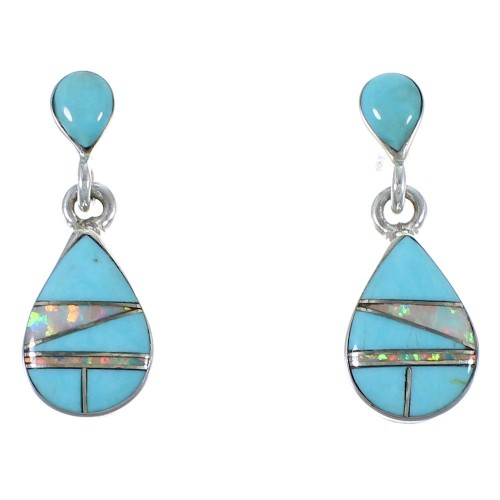 Turquoise And Opal Jewelry Post Dangle Earrings CX45472