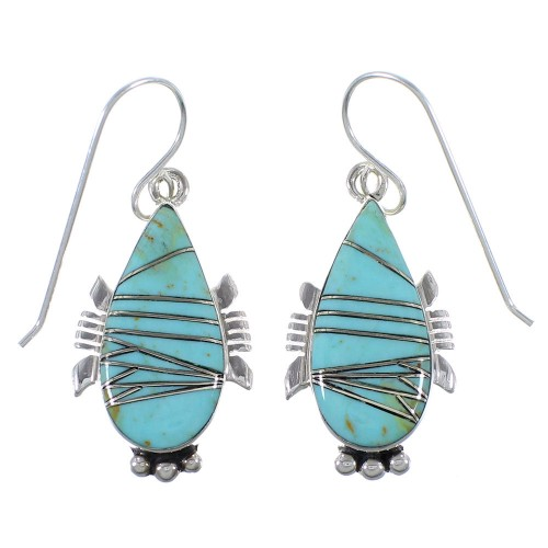 Genuine Sterling Silver Turquoise Hook Dangle Earrings CX45582