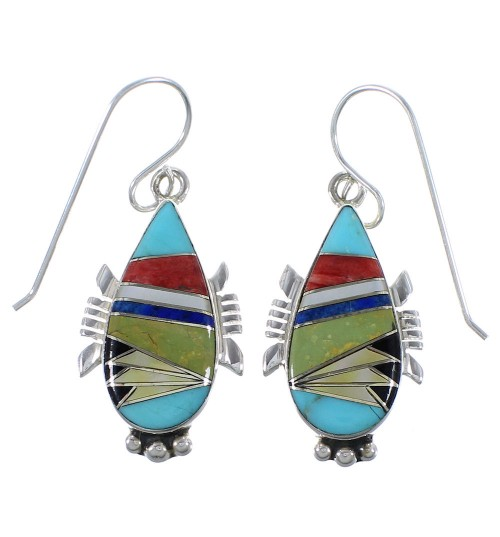 Southwestern Silver Multicolor Inlay Earrings CX45603