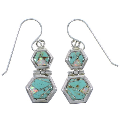 Opal Turquoise Inlay Sterling Silver Southwest Earrings CX46940