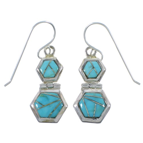 Silver Turquoise Southwest Hook Dangle Earrings CX46948