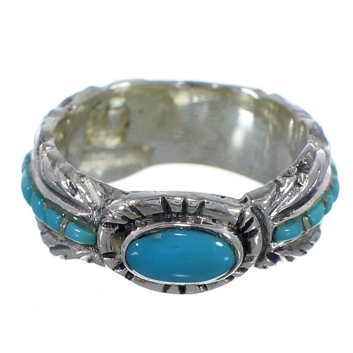 Turquoise Feather Jewelry Silver Ring Size 5-3/4 PX43768