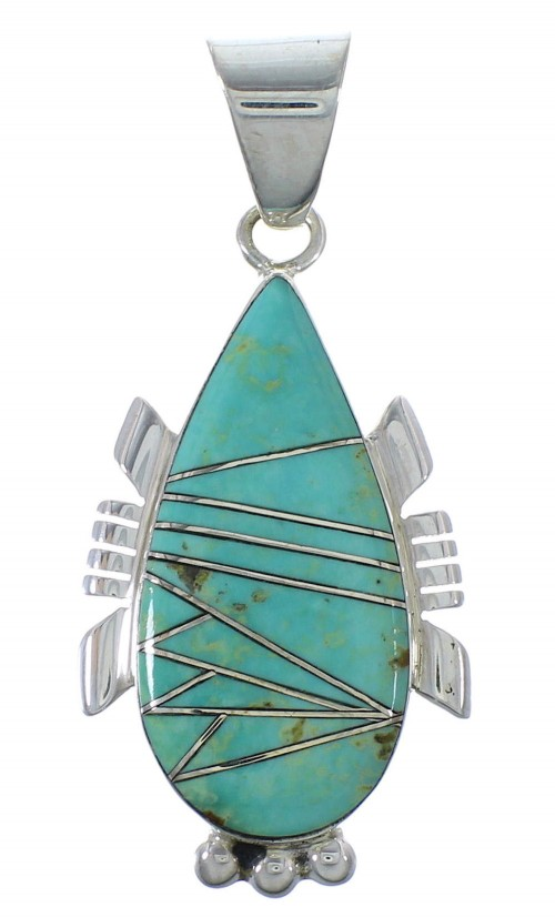 Turquoise Inlay Southwest Silver Pendant EX44401