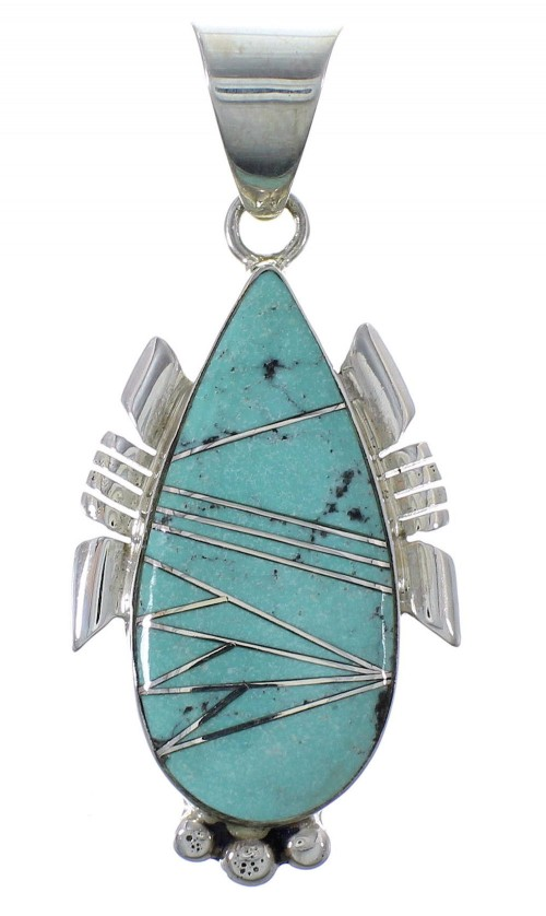 Turquoise Inlay Silver Slide Pendant EX44416