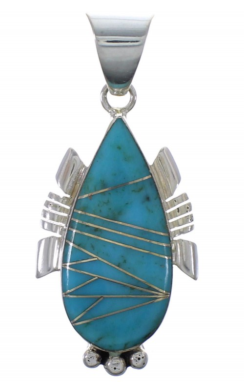 Southwest Turquoise And Sterling Silver Pendant EX44419