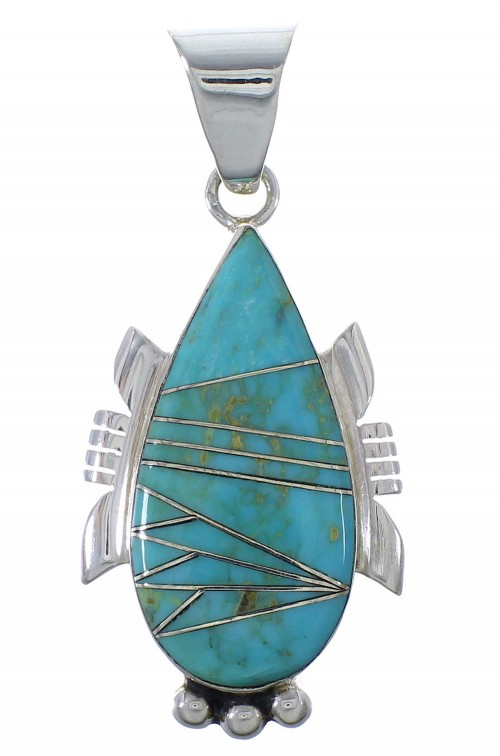 Turquoise Inlay Silver Southwest Pendant EX44421