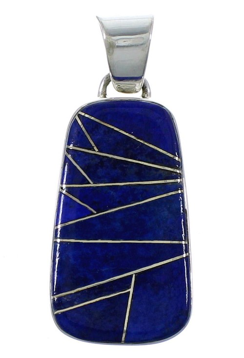 Lapis Inlay Sterling Silver Slide Pendant EX44457