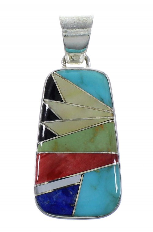 Multicolor Inlay Sterling Silver Slide Pendant EX44458
