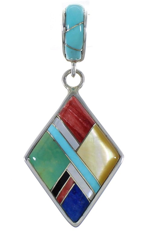 Multicolor Inlay And Sterling Silver Pendant EX44348