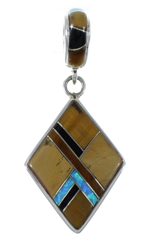Tiger Eye And Multicolor Sterling Silver Pendant EX44351