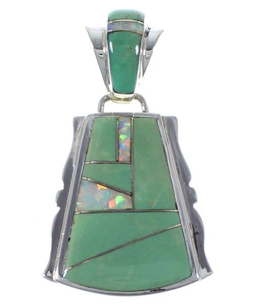Southwest Turquoise And Opal Silver Pendant EX44352