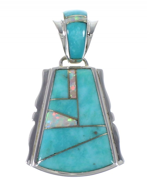 Southwestern Turquoise Opal Silver Pendant EX44358