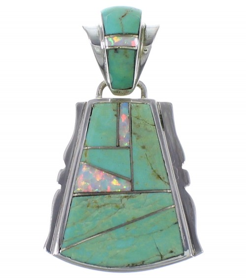 Turquoise And Opal Genuine Sterling Silver Pendant EX44360