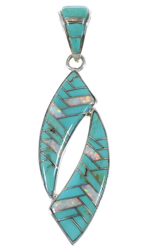 Southwestern Authentic Sterling Silver Turquoise Opal Pendant AX48837