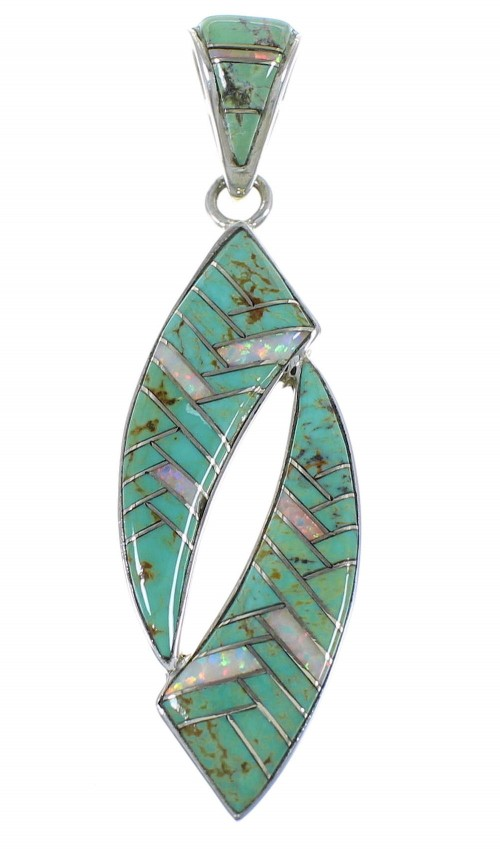 Southwest Silver Turquoise And Opal Pendant AX48842
