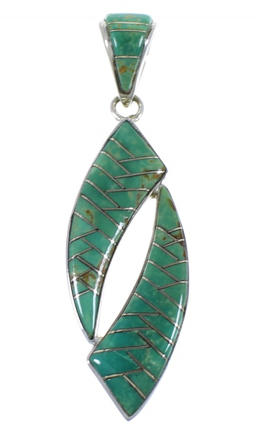 Southwest Silver Turquoise Inlay Pendant AX48849